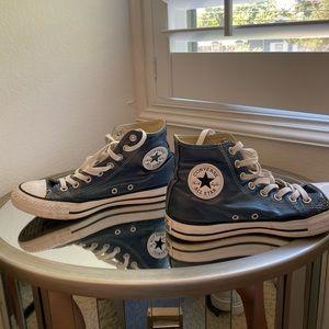 Blue metallic high top Converse